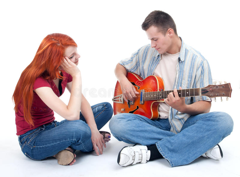 Download Couple With Electric Guitar Stock Image - Image of electric, orange: 16123131