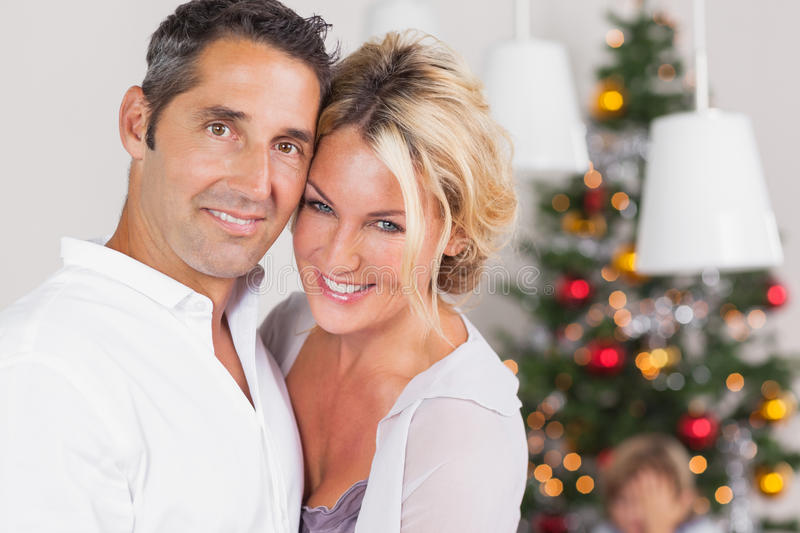 Download Couple Embracing At Christmas Stock Photo - Image of happy, home: 27804030