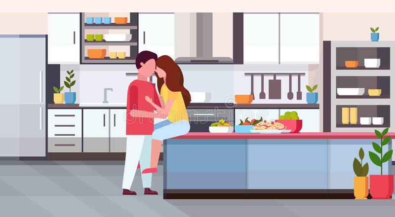 Couple embracing and kissing at kitchen counter happy valentines day celebrating concept man woman in love hug modern. Apartment interior flat horizontal vector royalty free illustration