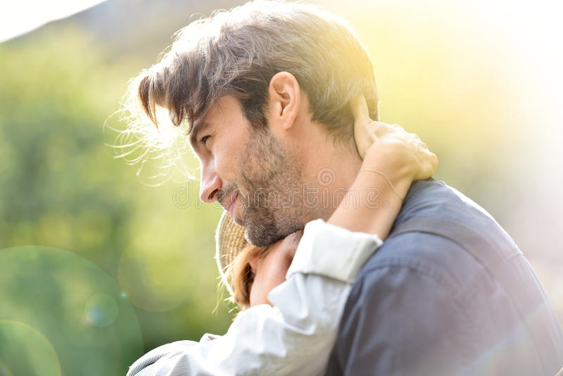 Couple embracing with tenderness royalty free stock photo