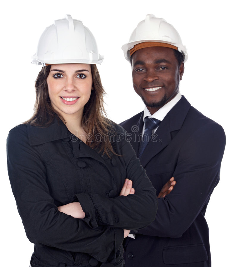 Couple of engineers stock image
