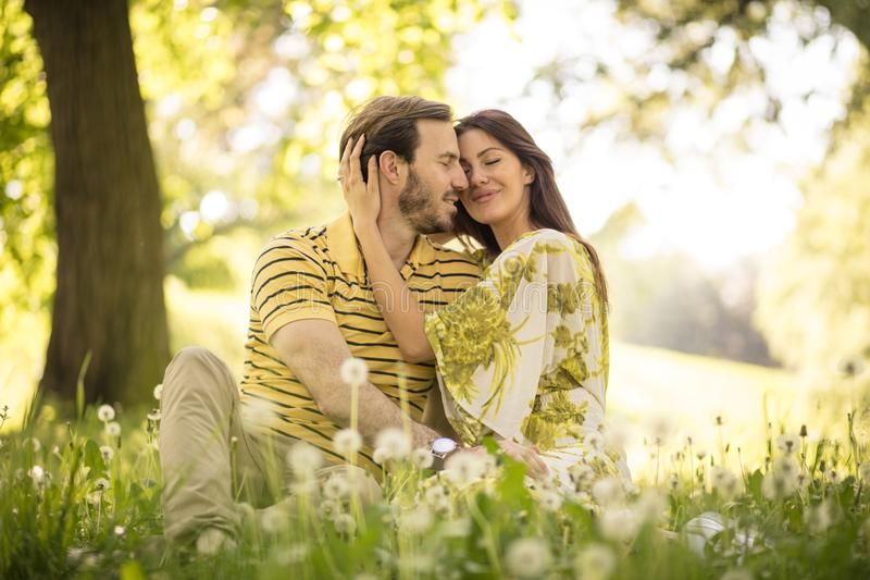 Couple enjoy in nature. royalty free stock image