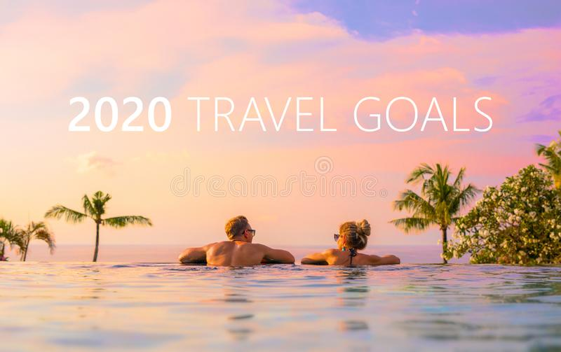Couple enjoying exotic tropical vacation royalty free stock photography