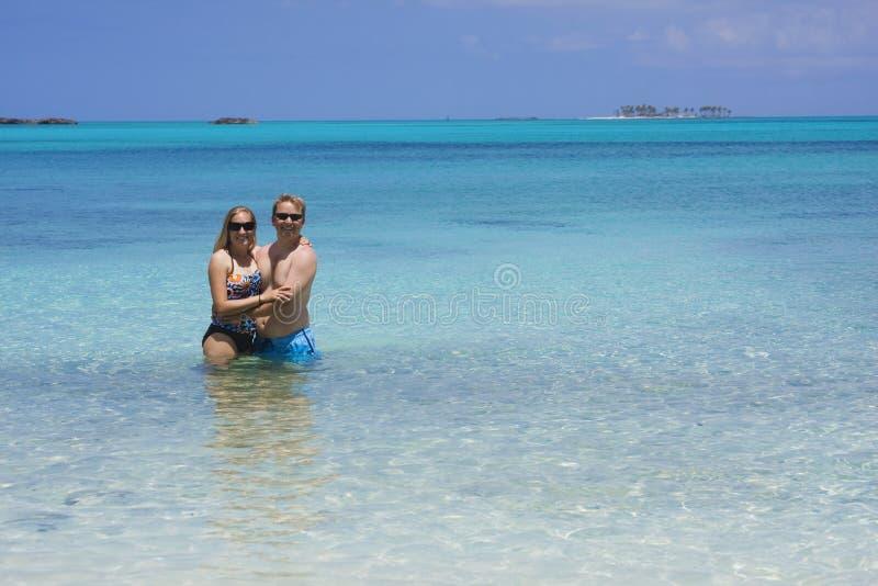 Couple enjoying in the Ocean stock image