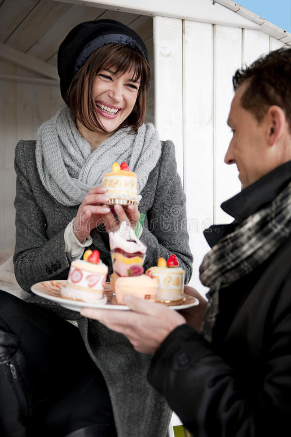 Download Couple Enjoying Pastry stock image. Image of december - 17804805