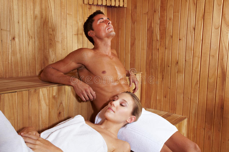 Couple enjoying peace in sauna