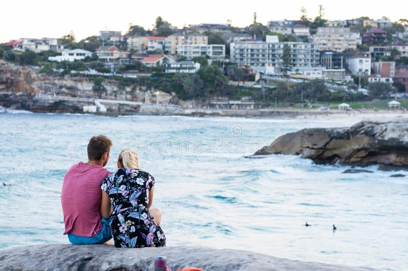A couple enjoying the view at Bronte Beach royalty free stock images