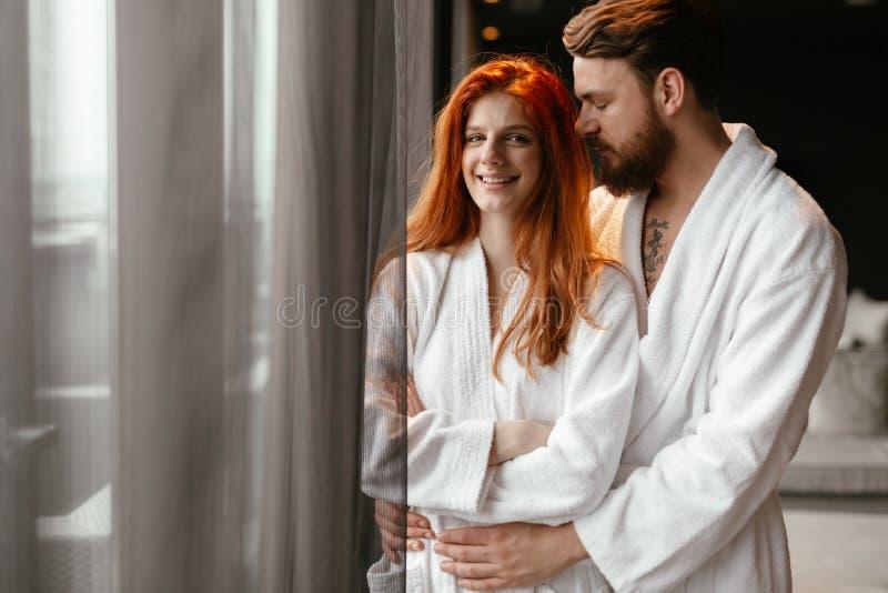 Couple enjoying wellness weekend. And serene moments together stock image