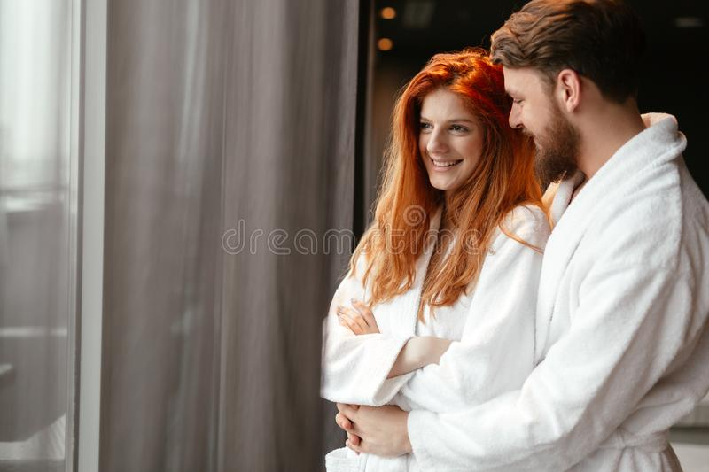 Couple enjoying wellness weekend. And serene moments together royalty free stock images