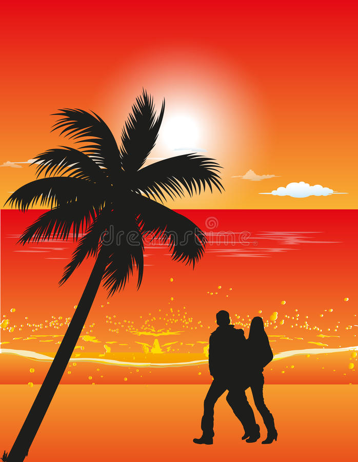 Couple On The Evening Beach royalty free illustration
