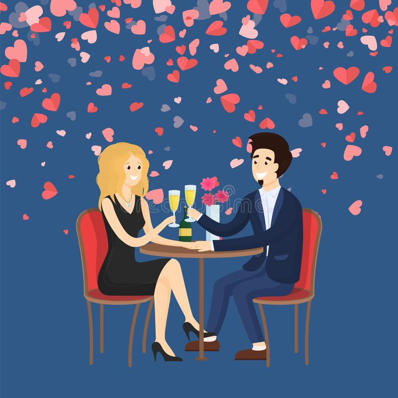Man Holding Hand of Woman and Saying Toast Vector. Couple in evening clothes sitting at table drinking champagne. Man holding hand of woman and saying toast royalty free illustration