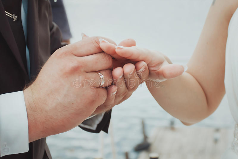 The Couple Exchange Wedding Rings Stock Photo Image of bridal