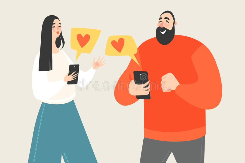 Couple exchanges valentines on social networks using smartphones. Isolated cartoon characters royalty free illustration
