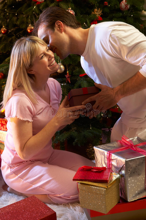 Couple Exchanging Presents In Front Of Tree royalty free stock photos
