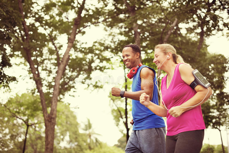 Couple Exercise Fitness Happiness Healthy Concept royalty free stock photo