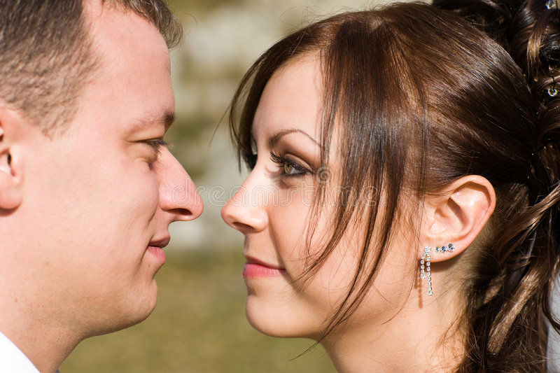 Couple eye to eye stock photos