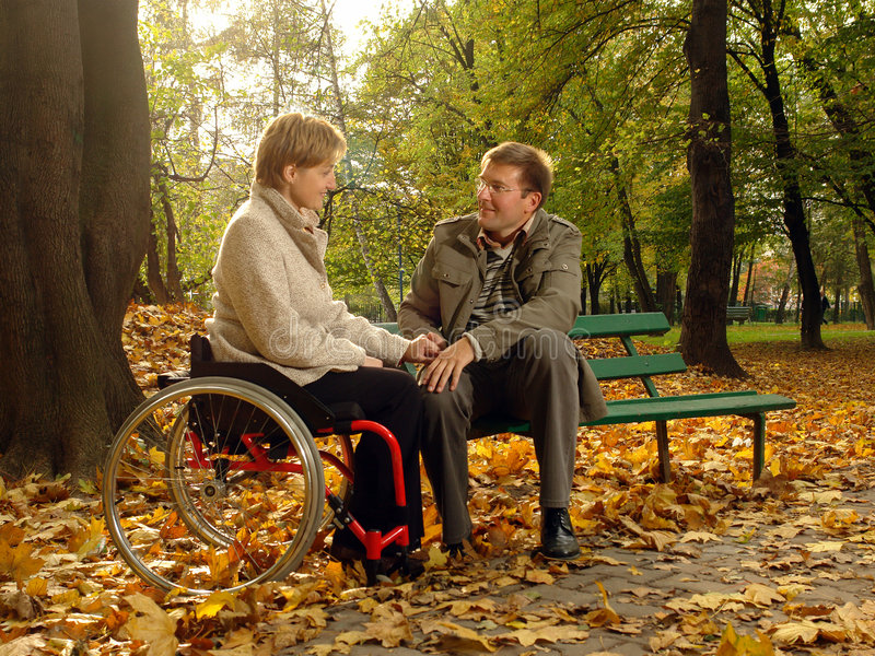 Couple in the fall park royalty free stock photos