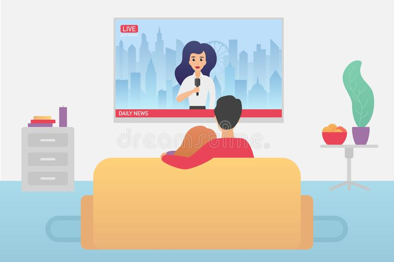 Couple family watching TV daily news program sitting on the couch at home in the living room flat vector iluustration. stock illustration