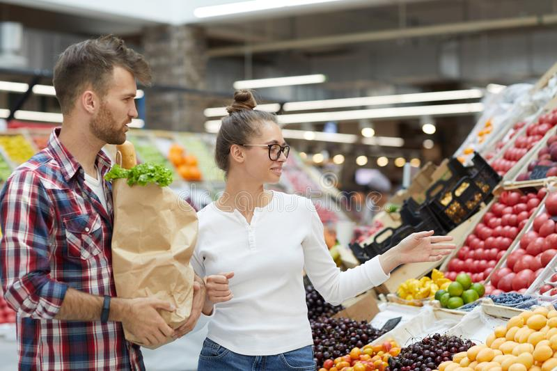 Couple at Farmers Market royalty free stock image