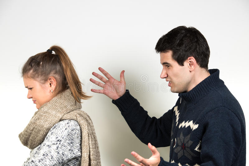 Couple in fight stock images