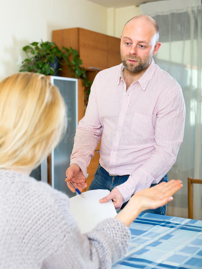 Couple filling in a survey stock photography
