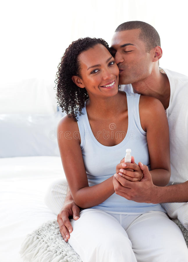 Couple finding out results of a pregnancy test royalty free stock photos