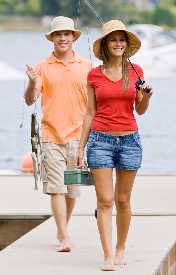 Free Couple Fishing On Pier Stock Images - 7379424