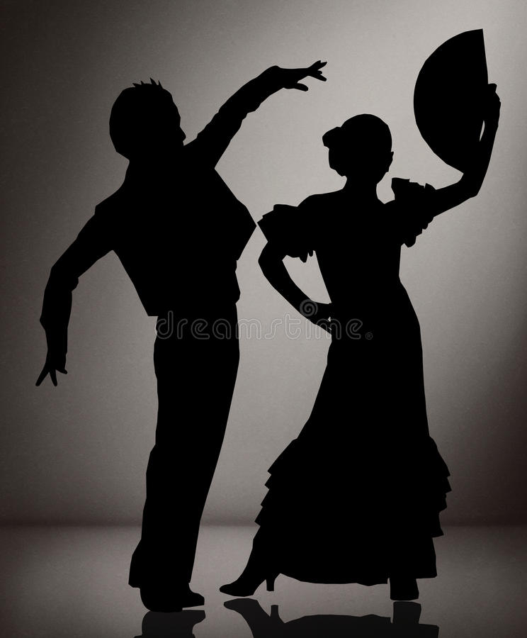 Download couple of flamenco dancers on black and white background stock photo image of abstract