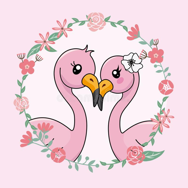 Couple of flamingos in love inside flower frame stock illustration