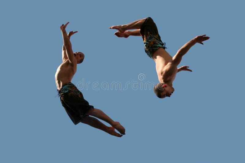 Couple of flying boys stock photography