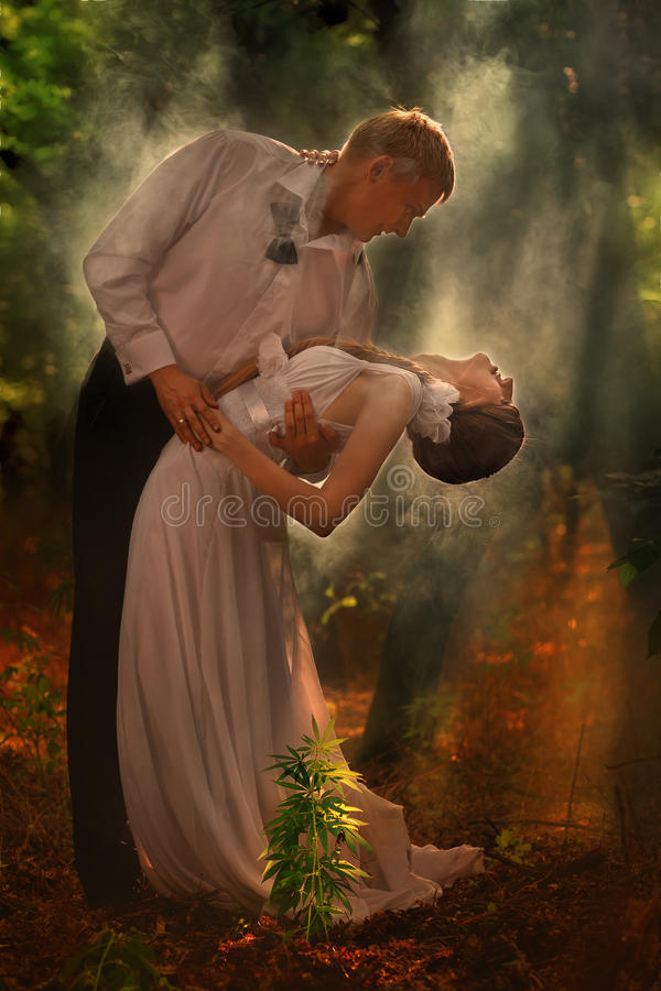 Couple In A Forest Stock Image