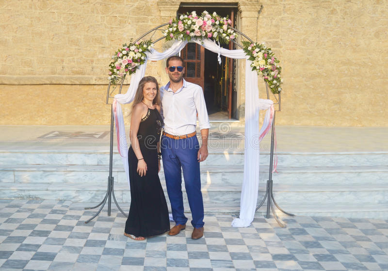 Couple formally dressed at a greek wedding stock photos
