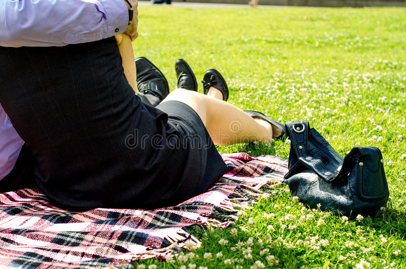 Download Couple In The Forties Relaxing On The Park Stock Image - Image: 25476773