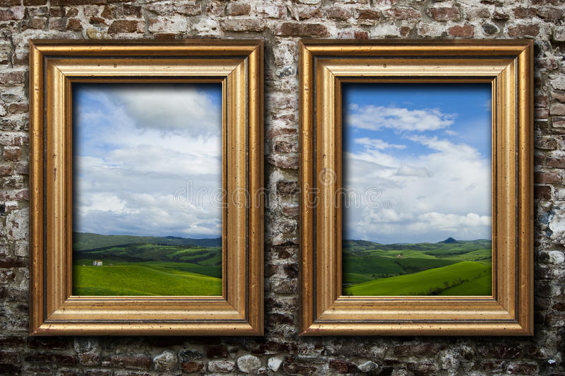 Couple of frames stock image. Image of brick, gallery - 16981029