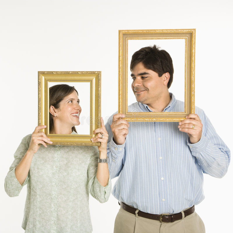 Couple in frames. stock photo