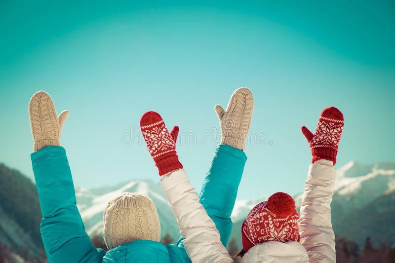 Couple Freedom Winter royalty free stock photography