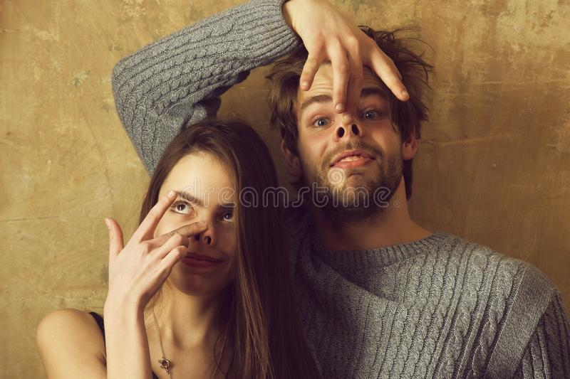 Couple of friends or surprised man, woman with open mouth royalty free stock photo