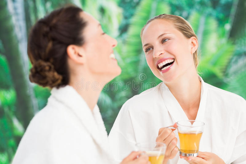 Couple friends having a spa day stock image