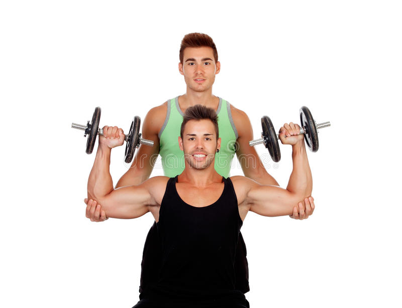 Download Couple Of Friends Lifting Weights Stock Image - Image of activity, human: 33563507