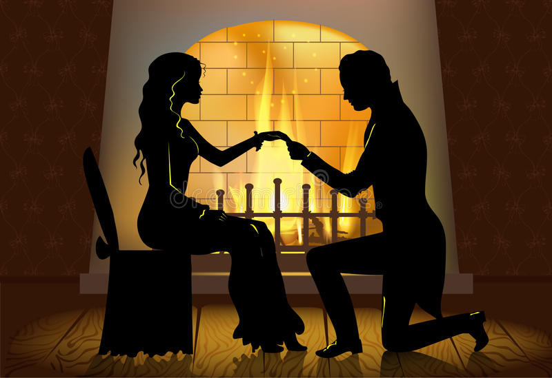 Couple in front of the fireplace stock illustration