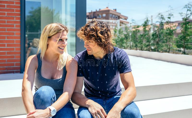Couple in front new house royalty free stock photo