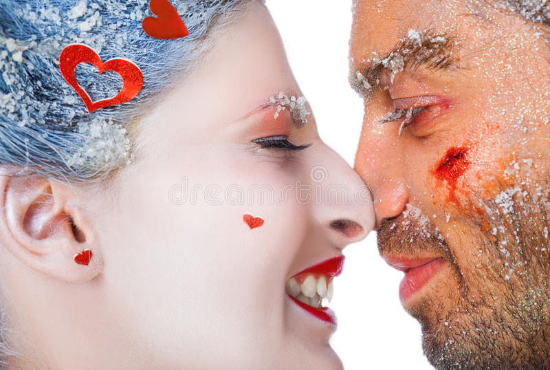Couple frost rubbing noses stock images