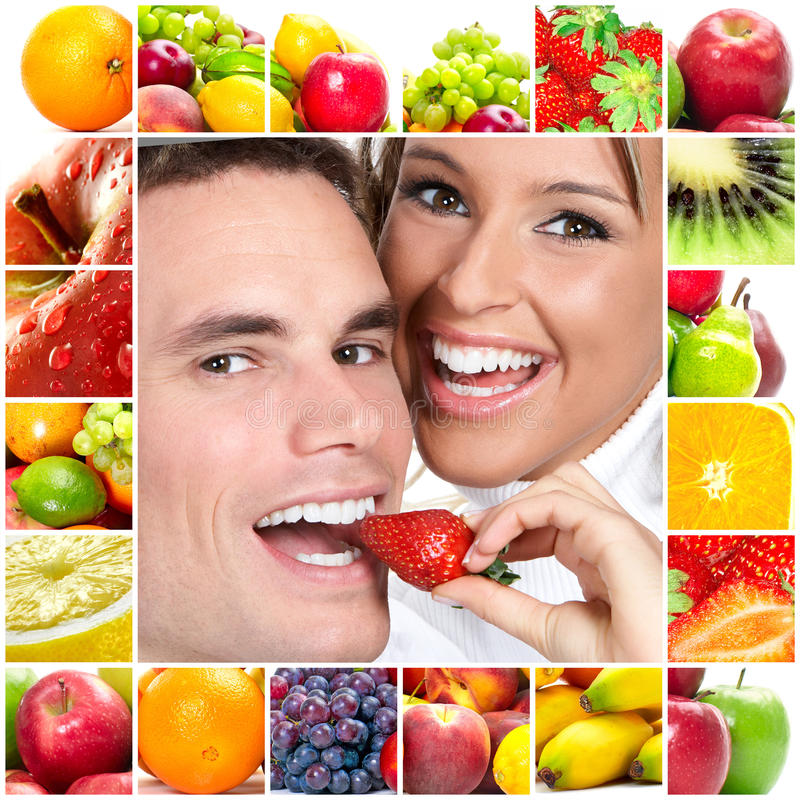 Couple and fruits royalty free stock image
