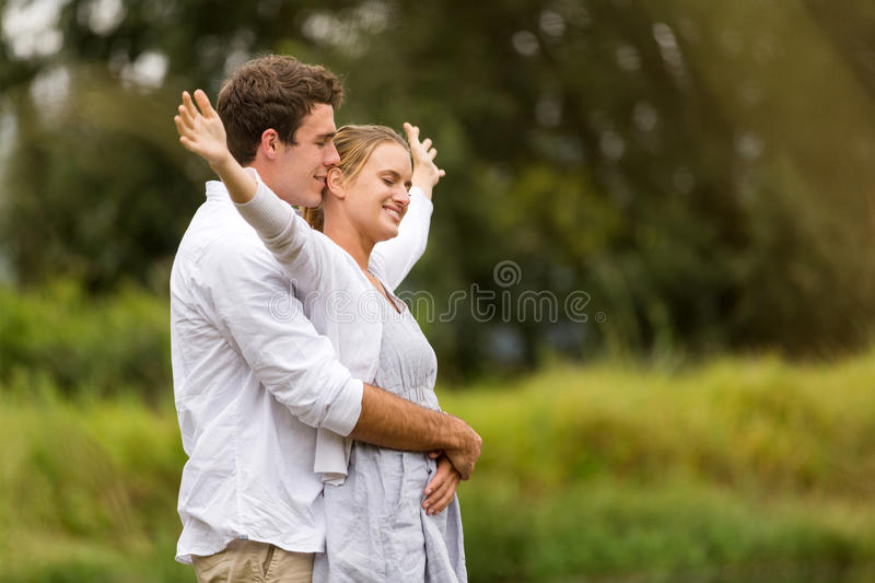 Couple fun outdoors royalty free stock images