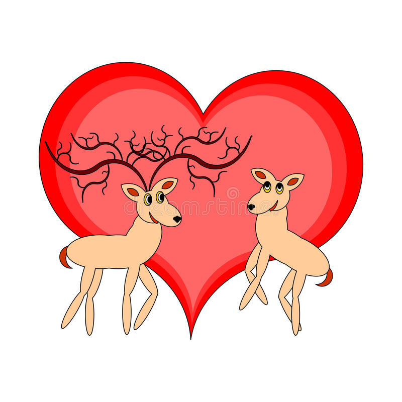 Download A Couple Of Funny Cartoon Deer With A Red Heart Stock Vector - Image: 35669683