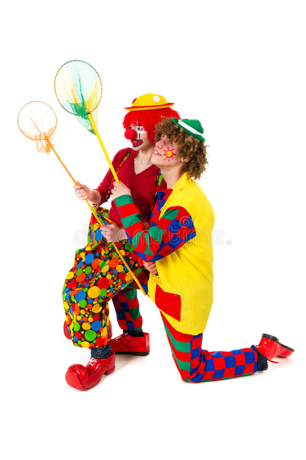 Download Couple Funny Clowns With Fishing Nets Stock Image - Image: 18892661