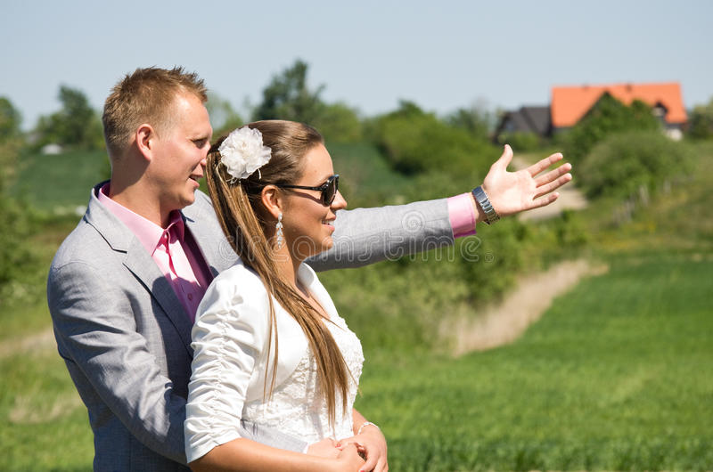 Couple at future home site royalty free stock images