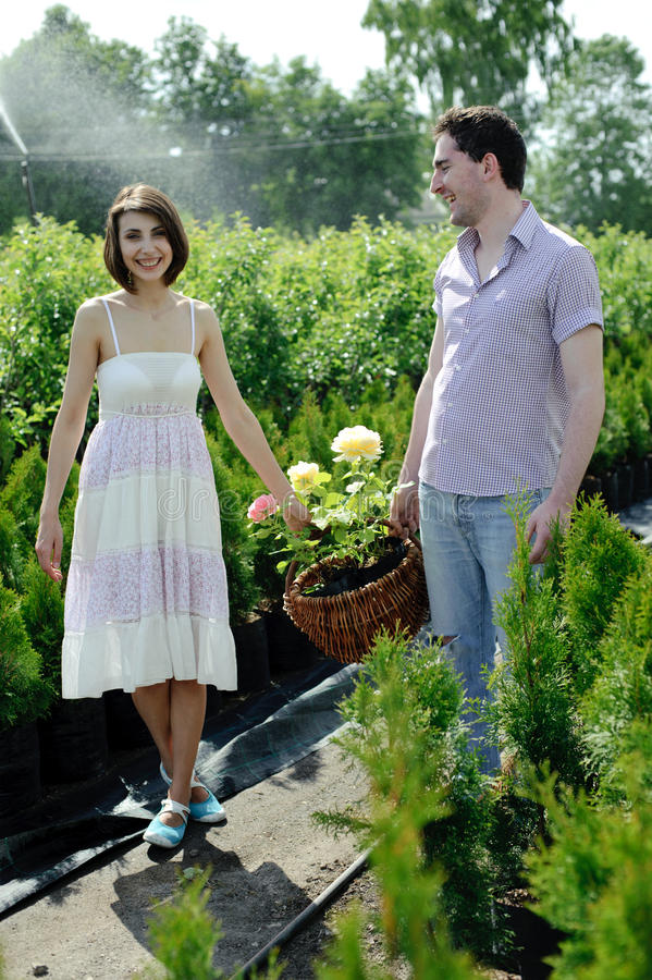 Couple in the garden royalty free stock photography