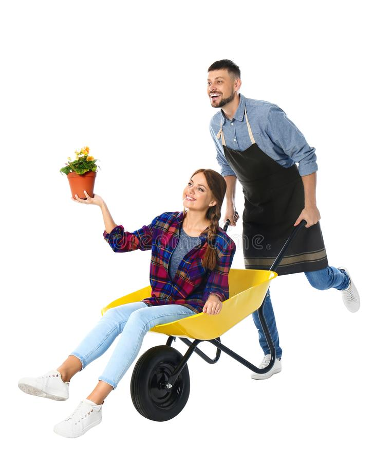 Couple of gardeners with wheelbarrow on background stock photos