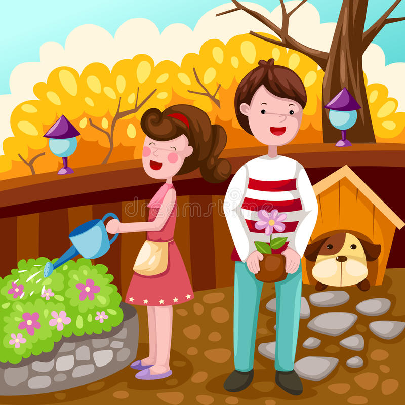 Couple gardening royalty free illustration